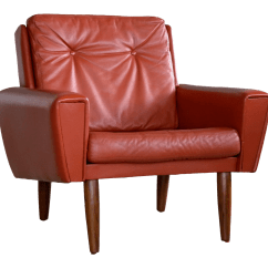 Red Lounge Chair Bean Bag Neopets World Class Danish Midcentury In Leather Manner Of Illum Wikkelso Decaso