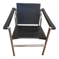 Le Corbusier Chair Floral Upholstered Lc 1 Black Leather By Chairish