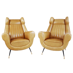 Leather Wingback Chairs Lift Edmonton Alberta Fine 1960s Vintage Gigi Radice For Minotti Italian A Pair Decaso