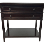 Duralee Co Dark Wood Two Drawer Transitional Side Table Nightstand