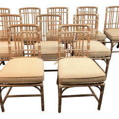 Bamboo Dining Chair Gliding For Nursery Mcguire Vintage Chairs Set Of 10 Chairish