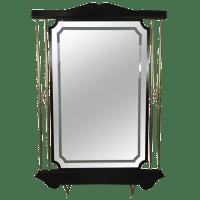 Italian Modern Black & Brass Floor Mirror | Chairish