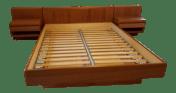 1960s Vintage Nordisk Andels Eksport Danish Modern Floating Nightstand Queen Platform Bed