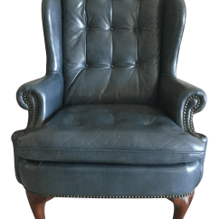 Blue Wing Chair The King Story Steel Leather Wingback Chairish