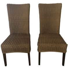 Pottery Barn Chairs Dining Ikea Poang Chair Cushion Rattan Pair Chairish