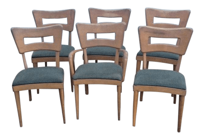 heywood wakefield dogbone chairs rolling beach chair cart 1950s vintage dining set of 6 chairish