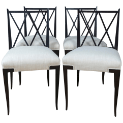 Double X Back Chairs Leather Parson Dining Lovely Mid Century Tommi Parzinger Set Of 4 Decaso