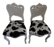 Small White Chairs With Cowhide Seat A Pair