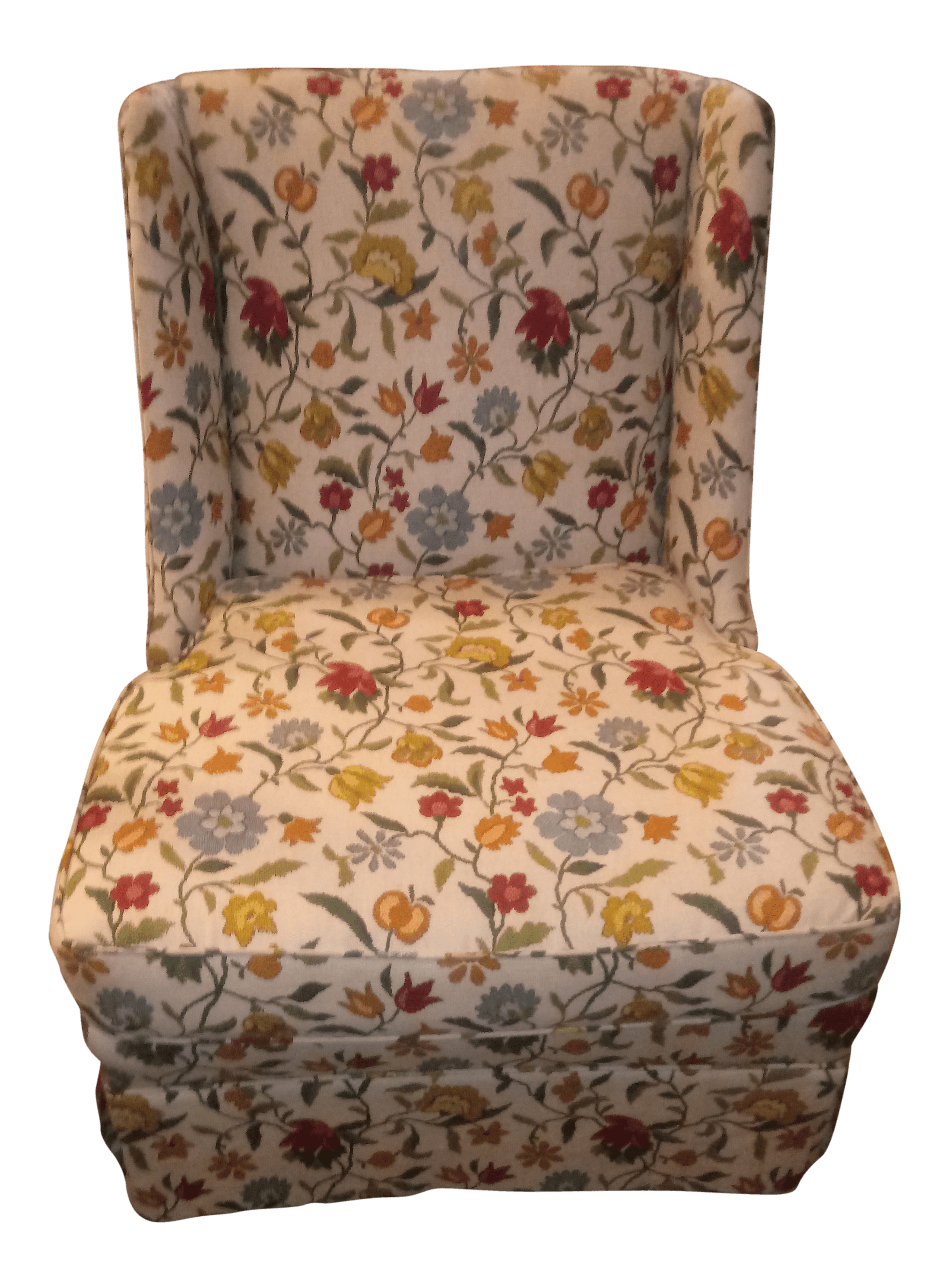 floral print accent chairs office chair arms or not 20th century shabby chic chairish