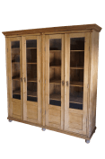19th Century European Waxed Pine Glass Front Bookcase Biblioteque Country