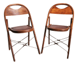 Vintage Bentwood Wood Folding Chairs A Pair Chairish