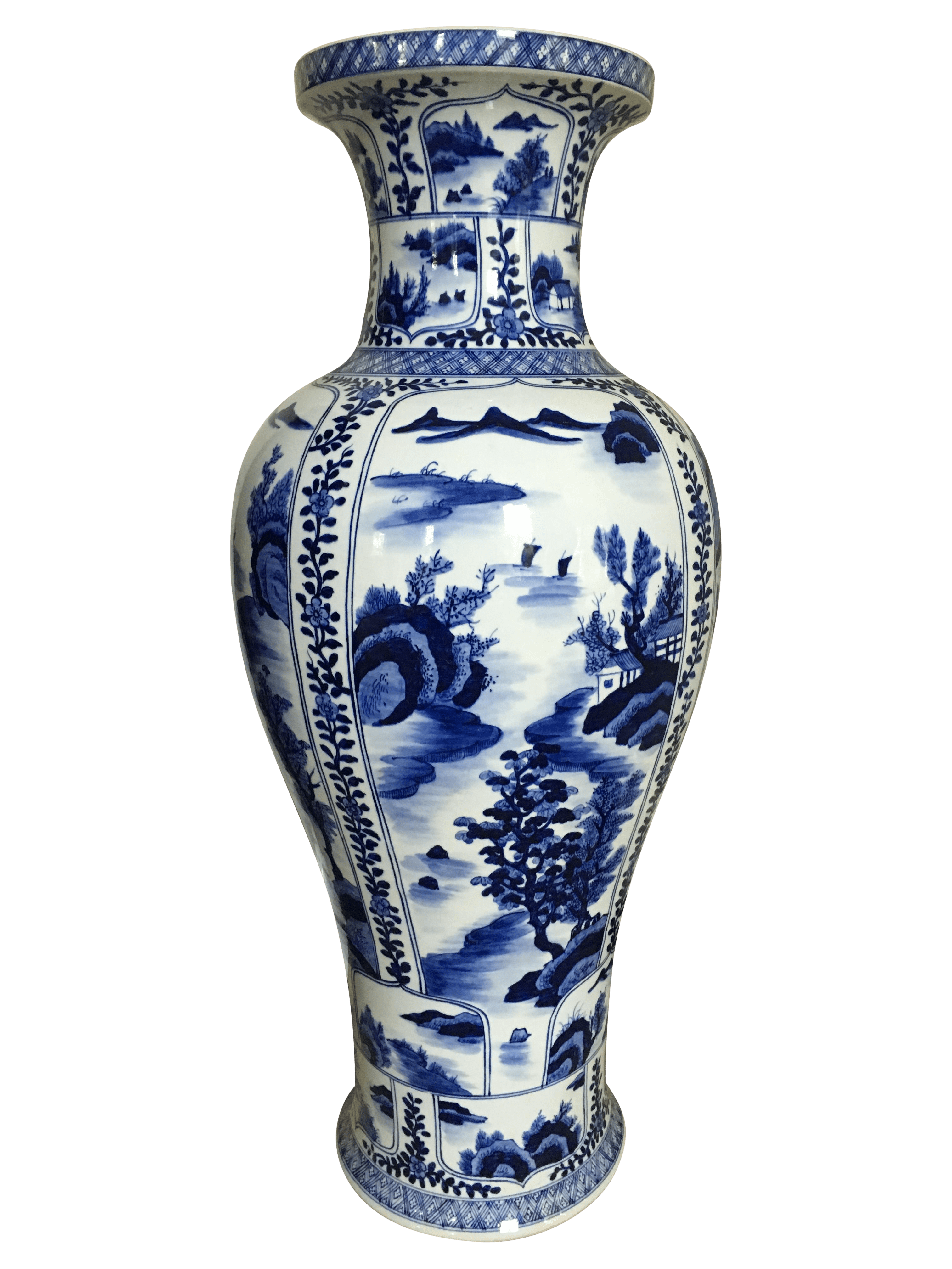 Ming Style Blue and White Floor Vase  Chairish
