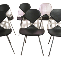Mid Century Modern Wire Chair Office Depot Eames For Herman Miller Bikini Chairs Set Of 6 Chairish