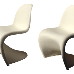 Panton S Chair Printable Yoga Exercises For Seniors Early 21st Century Verner Matte White Chairs A Pair Chairish