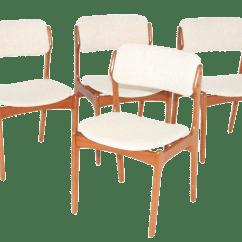 Erik Buck Chairs Egg Desk Chair Set Of 4 Teak Dining Chairish