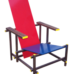 Red Blue Chair Ivory Polyester Covers Gerrit Rietveld Style And Chairish