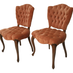 Queen Anne Style Chairs Leather Club Chair And Ottoman Set 1950s Vintage Hollywood Regency A Pair Chairish