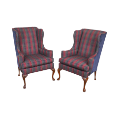 Queen Anne Wing Chair Covers To Buy Uk Hickory Mahogany Frame Pair Of Chairs Chairish