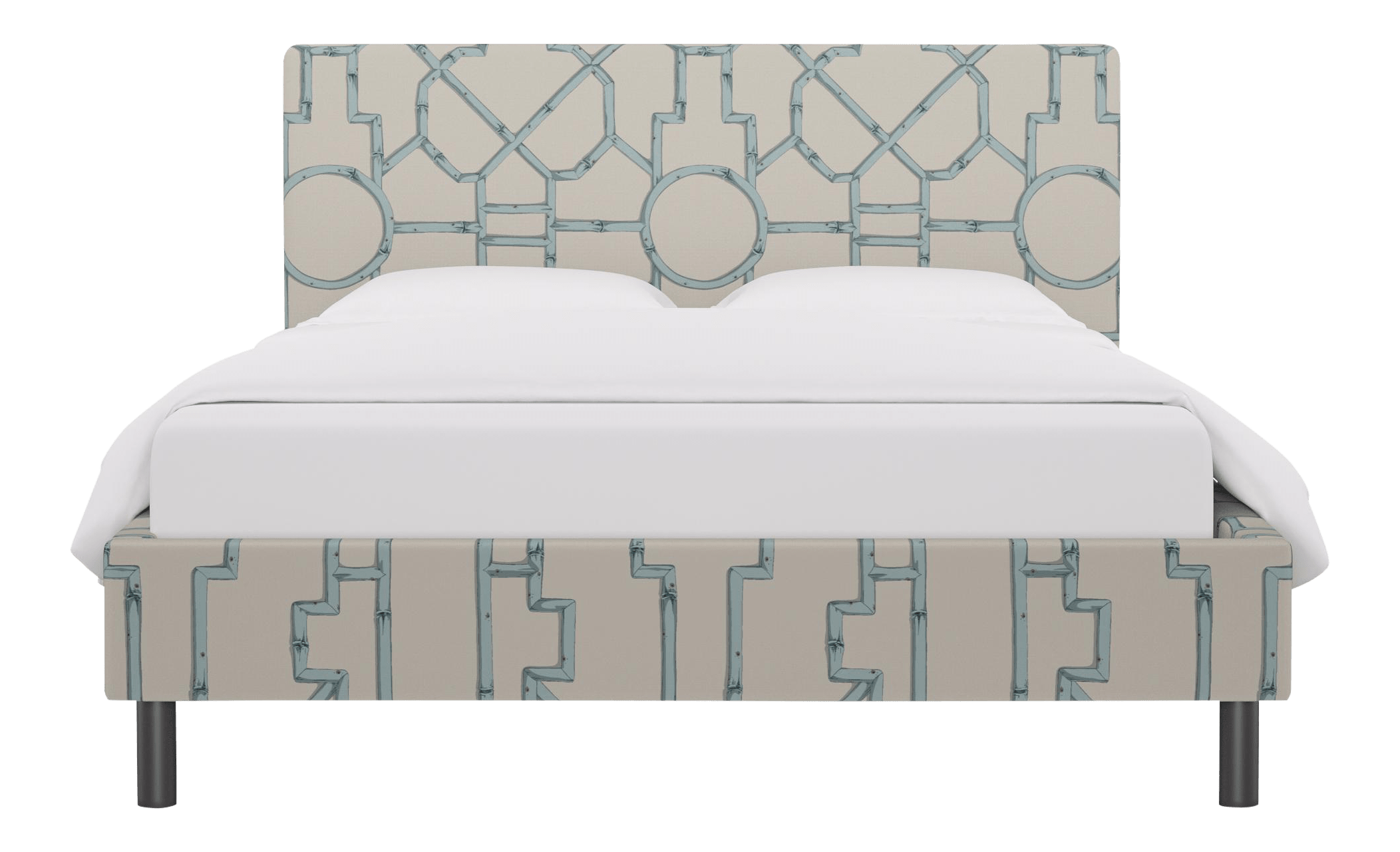 Queen Tailored Platform Bed In Blue Baldwin Bamboo By Scalamandre Chairish
