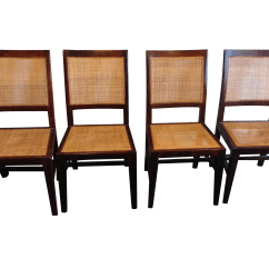 Dining Chairs With Caning Accent Arms For Living Room Crate Barrel Cane Set Of 4 Chairish