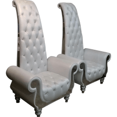 Game Of Thrones Office Chair Rail Tile Kendi White Leather Throne Chairs A Pair Chairish