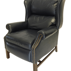 Lane Office Chair Leather In A Half Navy Mid Century Wingback Recliner Chairish