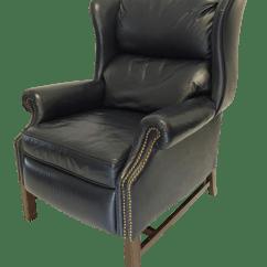 Wing Chair Recliner Leather Wicker Fan Back Lane Navy Mid Century Wingback Chairish