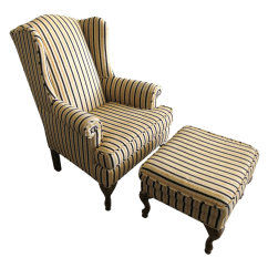 Striped Wingback Chair Wicker Hoop Wing With Ottoman Chairish