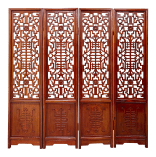 Mid 20th Century Chinese Four Fold Carved Rosewood Screen Room Divider Chairish