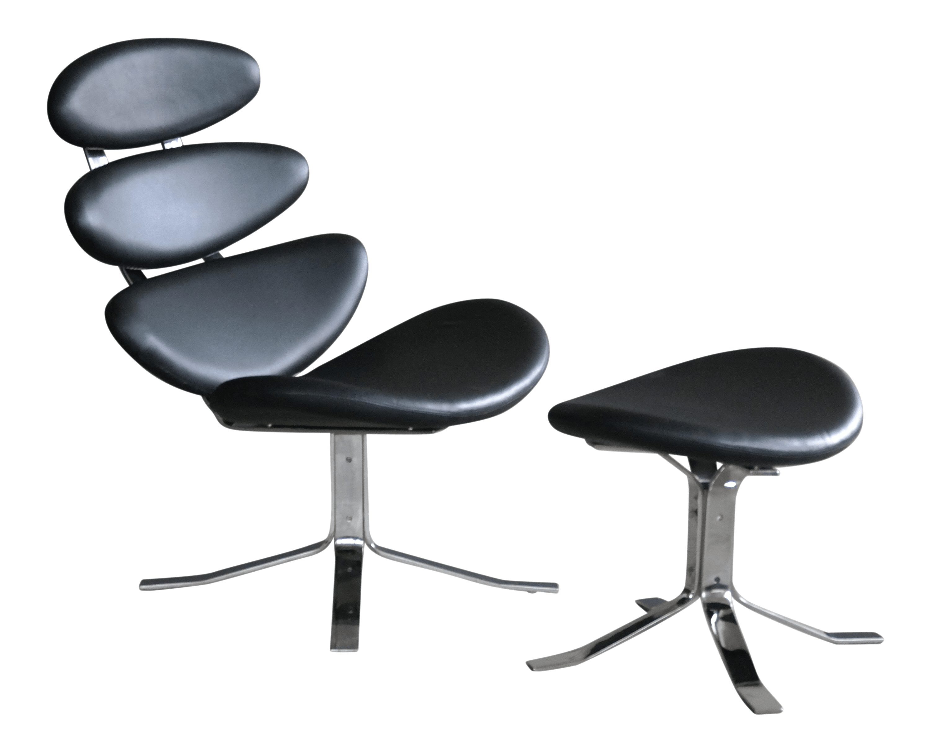 steel lounge chair desk kuwait poul volther style corona and leather ottoman chairish