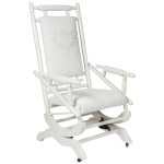 Antique Spring Rocking Chair With Custom Embroidery On Vintage Linen