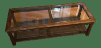 Mid-Century Modern Glass & Hardwood Coffee Table | Chairish