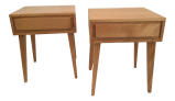 Mid Century Modern Solid Maple Bedside Tables Russel Wright For Contant Ball Furniture Makers
