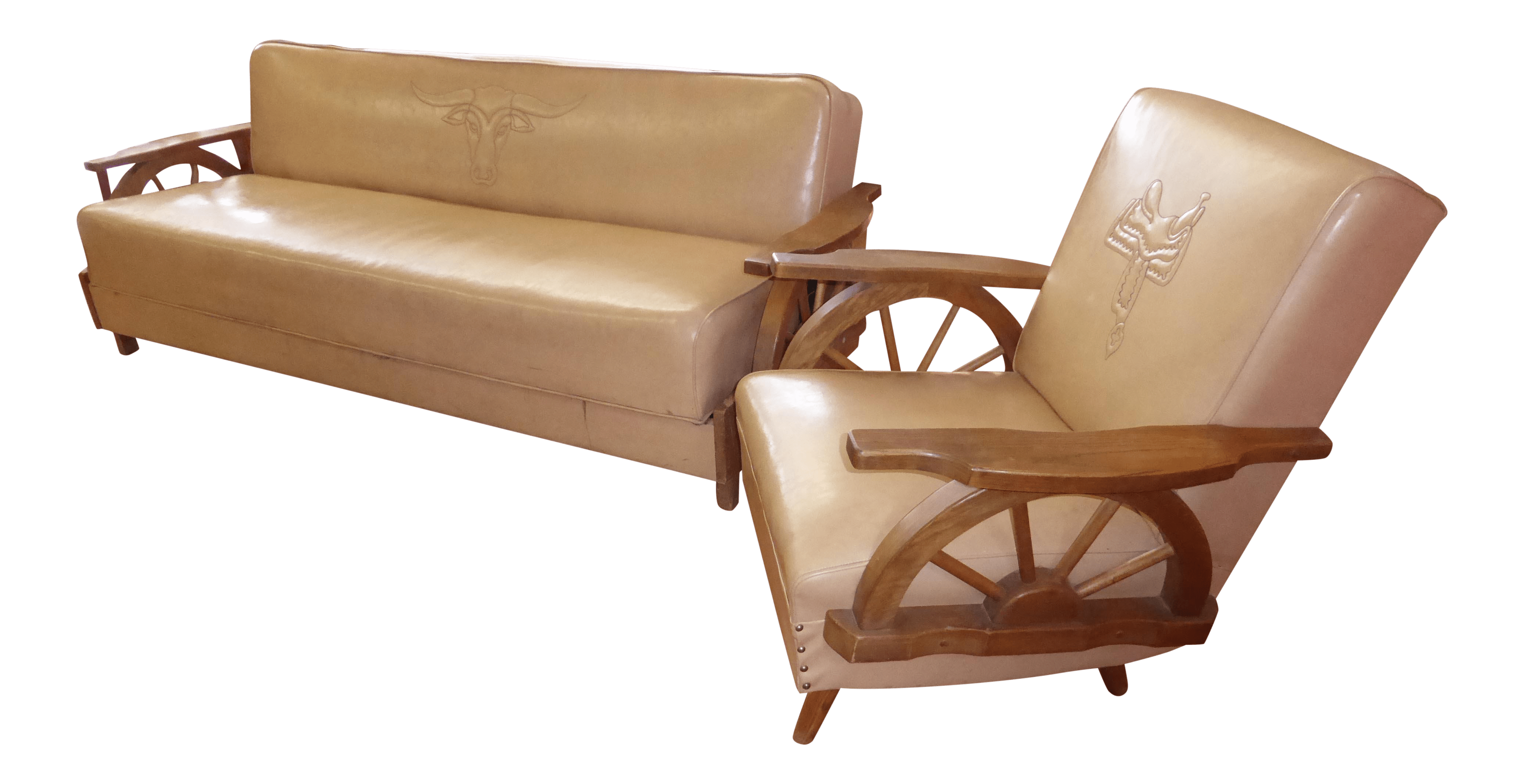sofa rocking chair plastic covers for bed bugs vintage western cowboy wagon wheel sleeper a pair chairish