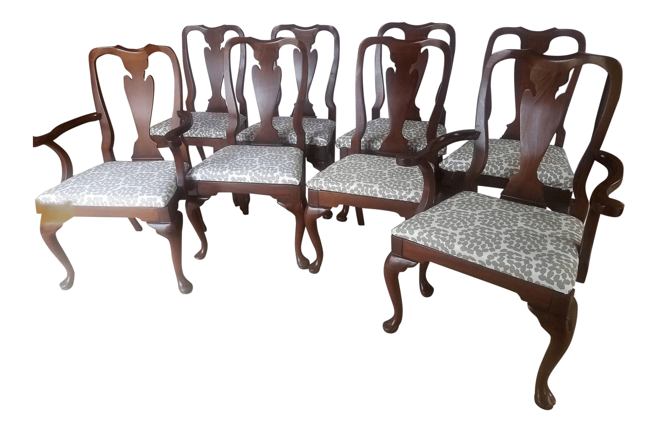 queen anne style chairs cheap banquet 1980s vintage mahogany set of 8 chairish