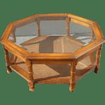 Mid Century Octagon Beveled Glass Top Coffee Table Chairish