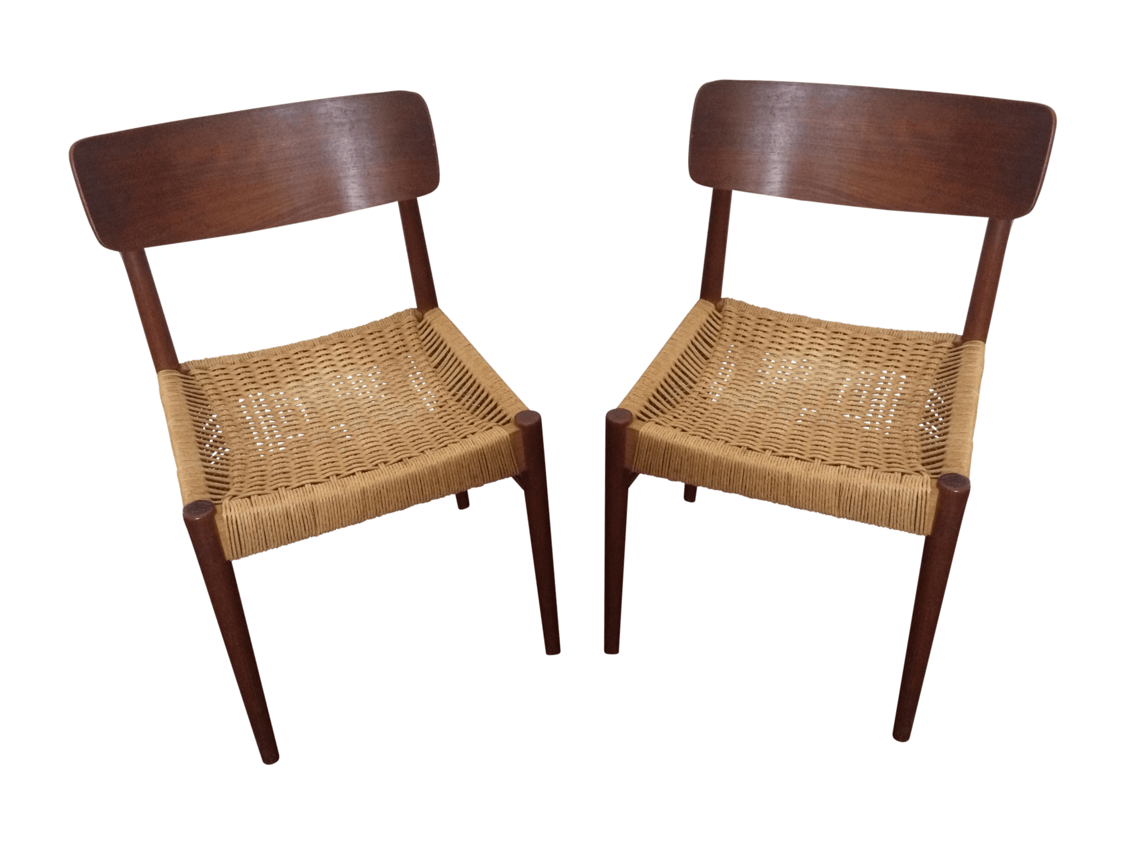 string chair seat tartan dining covers for sale vintage danish modern rope chairs a pair chairish