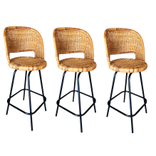 Swivel Wicker Bar Stools In The Seng Of Chicago Style Set Of 3 Chairish