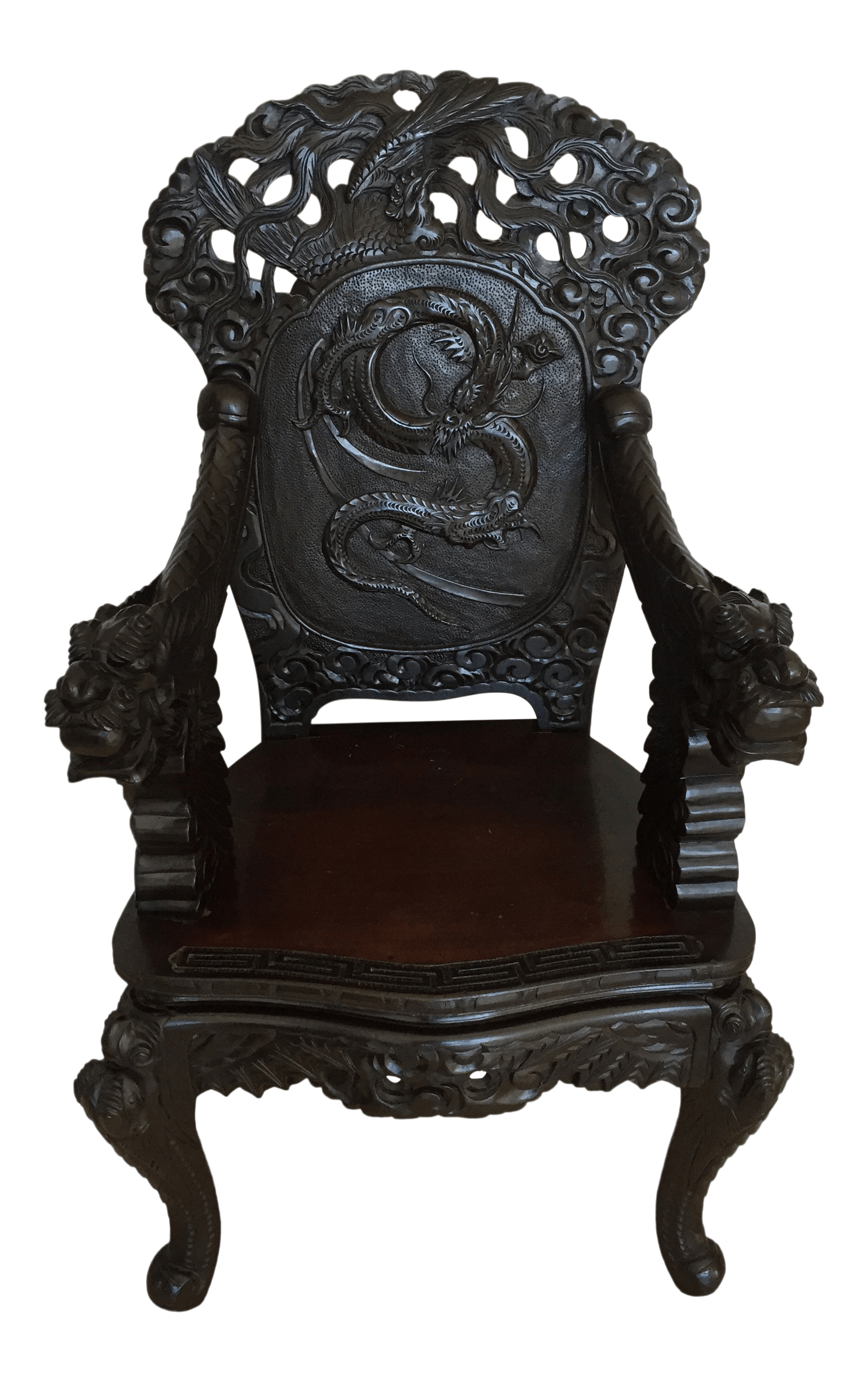 Dragon Chair Vintage Mid Century Oriental Dragon Phoenix Wooden Chair