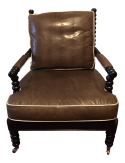 Hickory Leather Jenny Lind Style Spool Chair In Leather