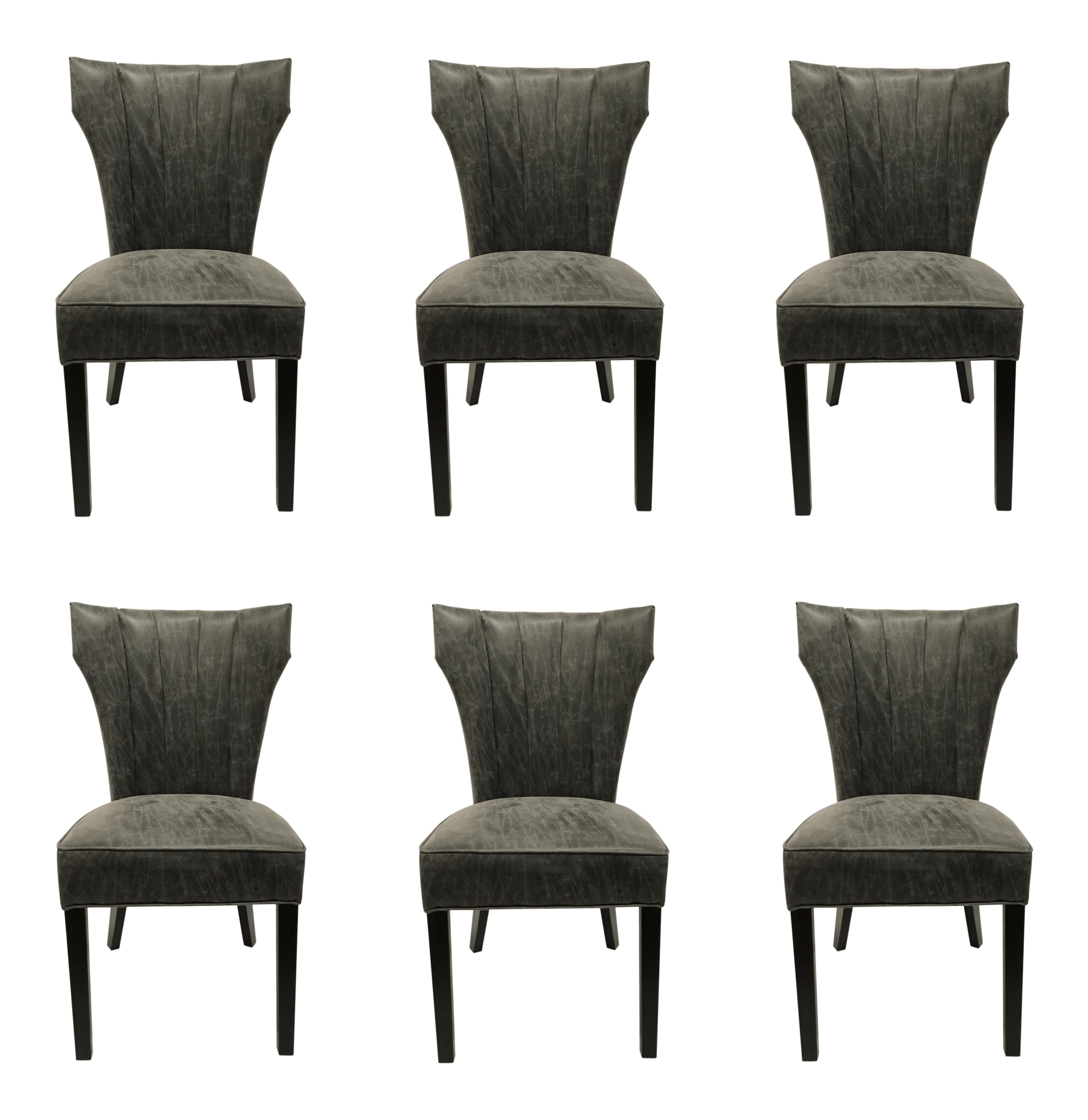 Dark Gray Distressed Leather Dining Chairs Set Of Six Chairish