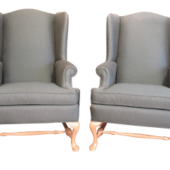 Ethan Allen Wingback Chairs Hickory Chair Leather Sectional Green Wing Pair Chairish
