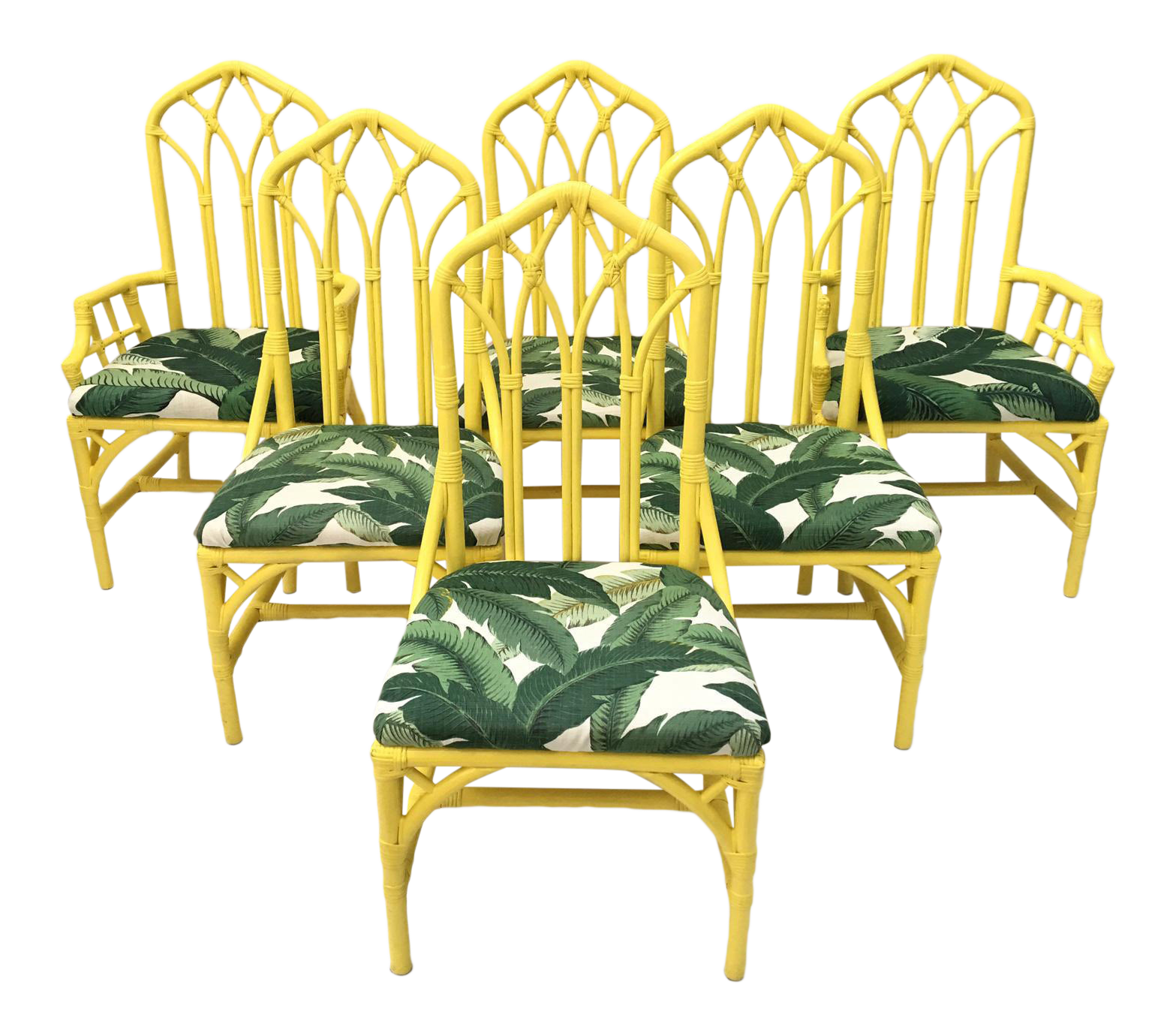 Banana Rocker Chair Tropical Banana Leaf Print Bamboo Rattan Dining Chairs By
