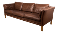 Danish Mid Century Sofa In Brown Leather