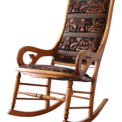 Animal Rocking Chair Rent Tables And Chairs For Wedding Antique Maple Reupholstered In Modern Motif Print Chairish