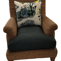 Comfortable Wicker Chairs Lazy Boy Accent Ralph Lauren Herring Net Armchair With Upholstered Seat And Loose Back Pillow Chairish