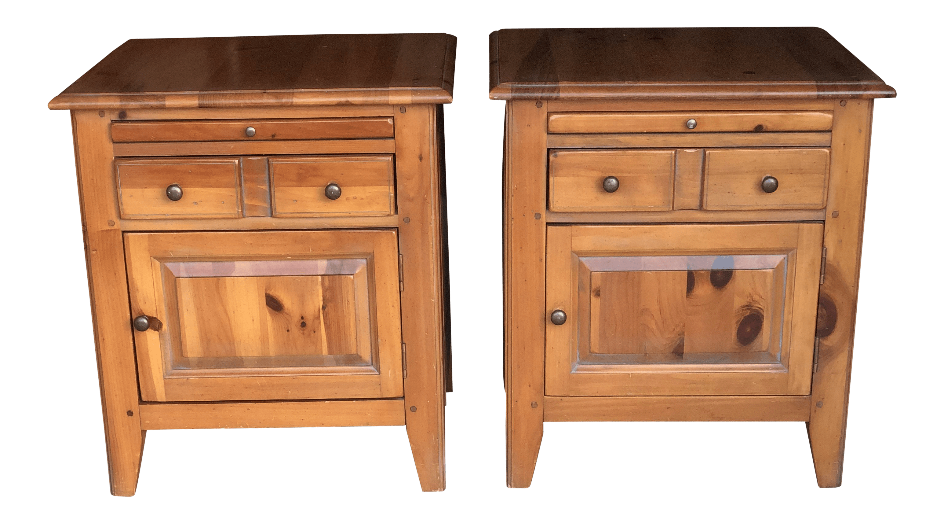 1980s Cottage House Pine Farmhouse Nightstands A Pair