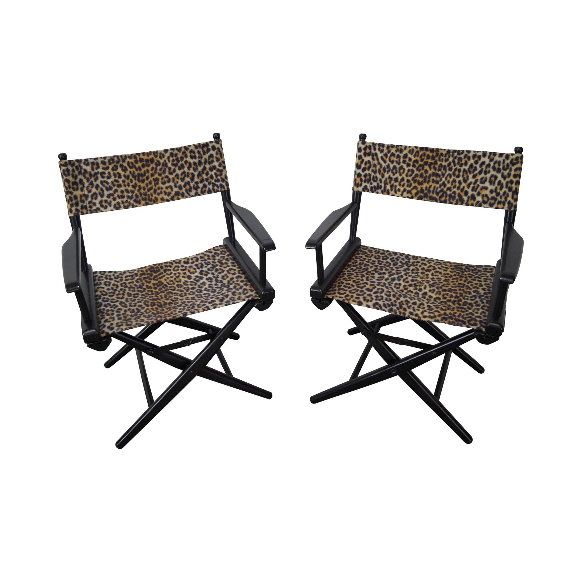cheetah print folding chair good computer mid century leopard directors chairs pair