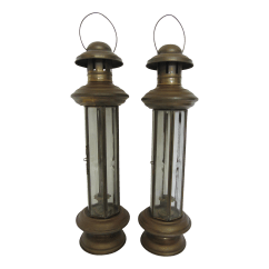 Hanging Chair Pakistan Beach Sand Vintage Brass Candle Lanterns A Pair Chairish