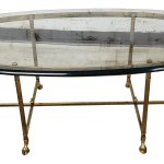 Labarge Brass And Glass Coffee Table With Hoof Feet Chairish